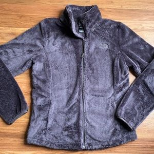 The North Face gray super soft zip jacket, S